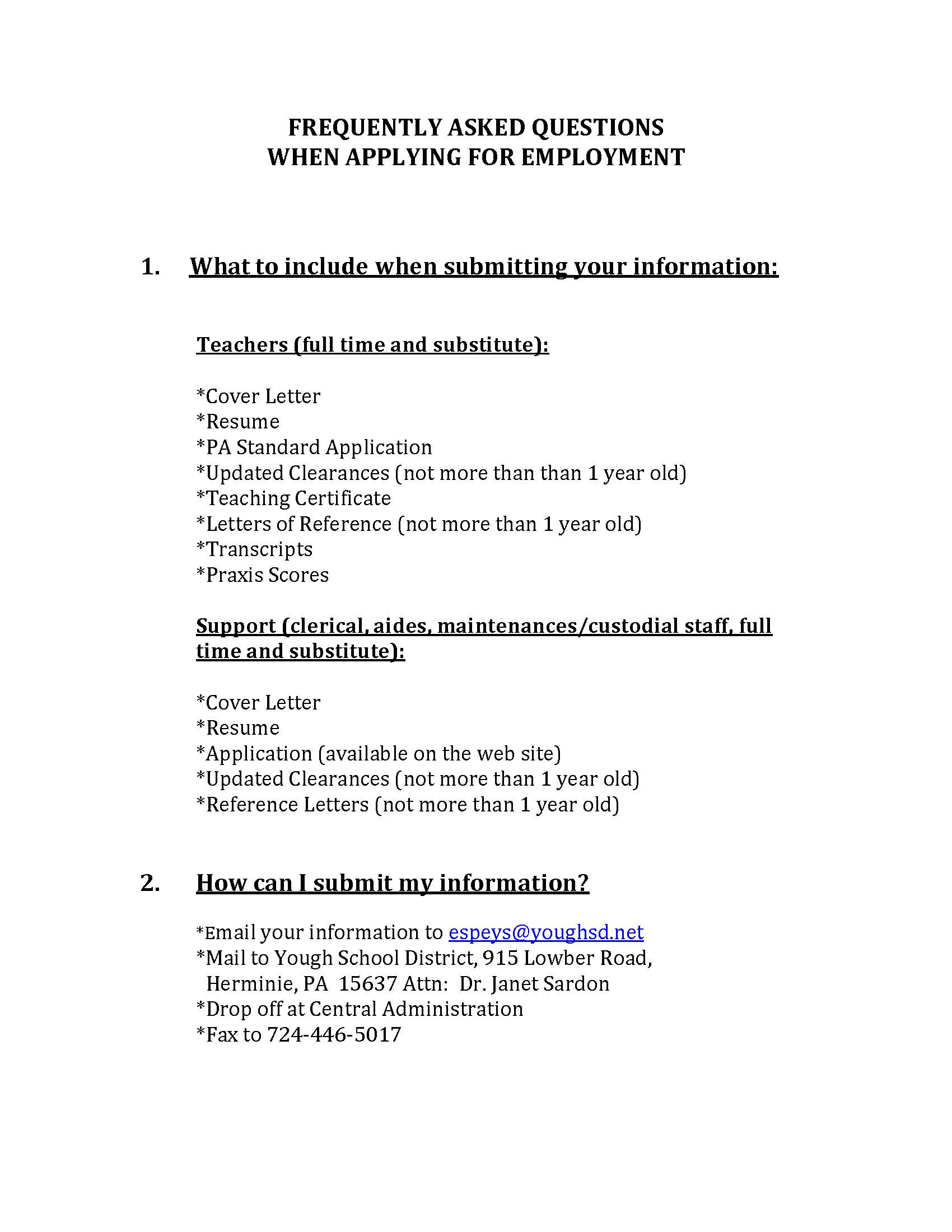 Employment Information Yough School District