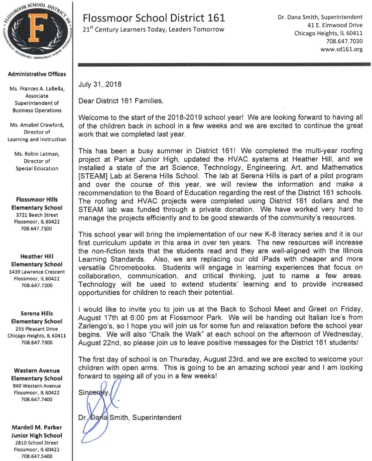 Welcome letter 2018-2019