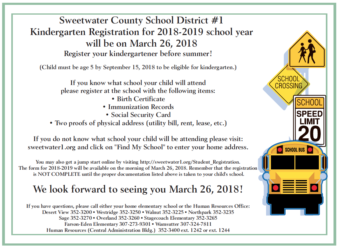 District home page sweetwater county school district 1 kindergarten registration will be open on march 26 2018 1betcityfo Choice Image