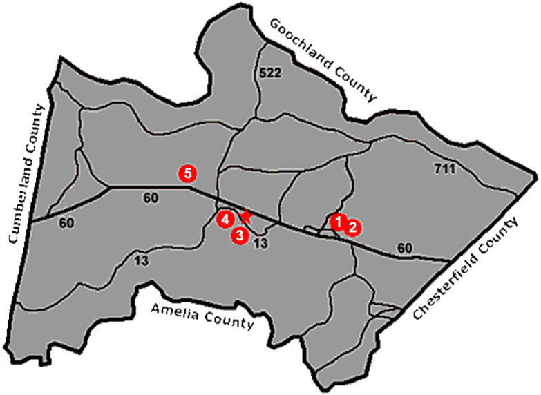 Map displaying Powhatan County School & office locations