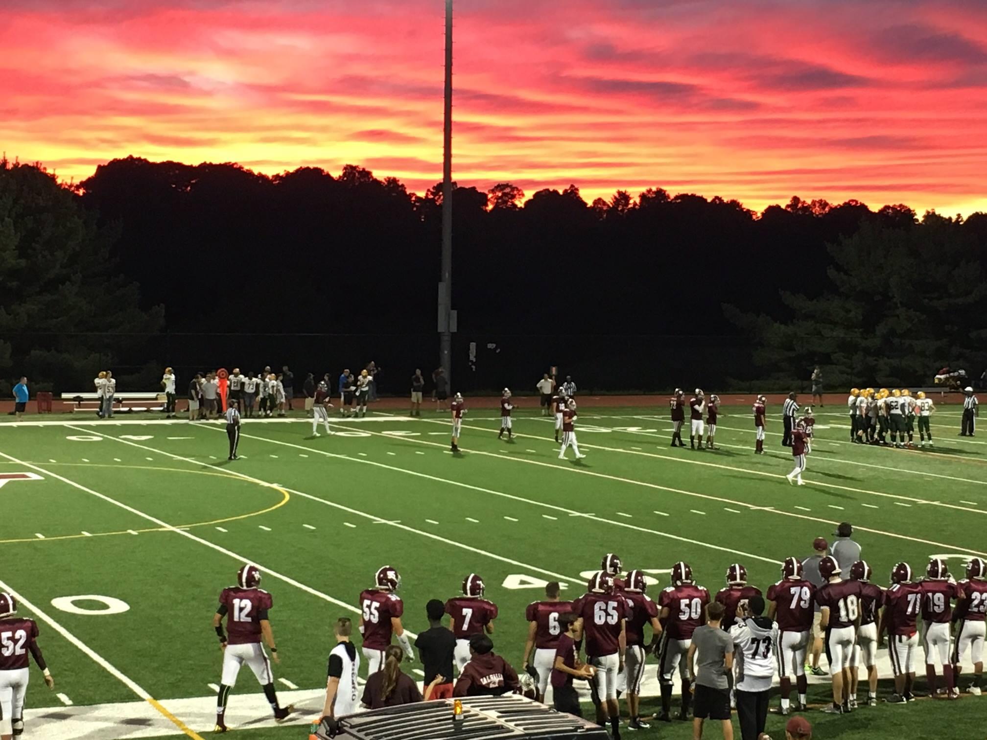 football field at sunset