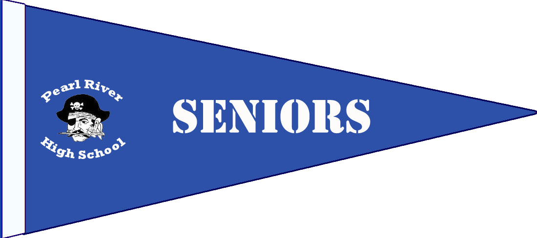 "blue pennant with pirate and texts: ""Seniors"" and ""Pearl River High School"""