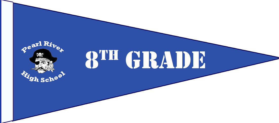 "blue pennant with pirate and texts: ""8th Grade"" and ""Pearl River High School"""