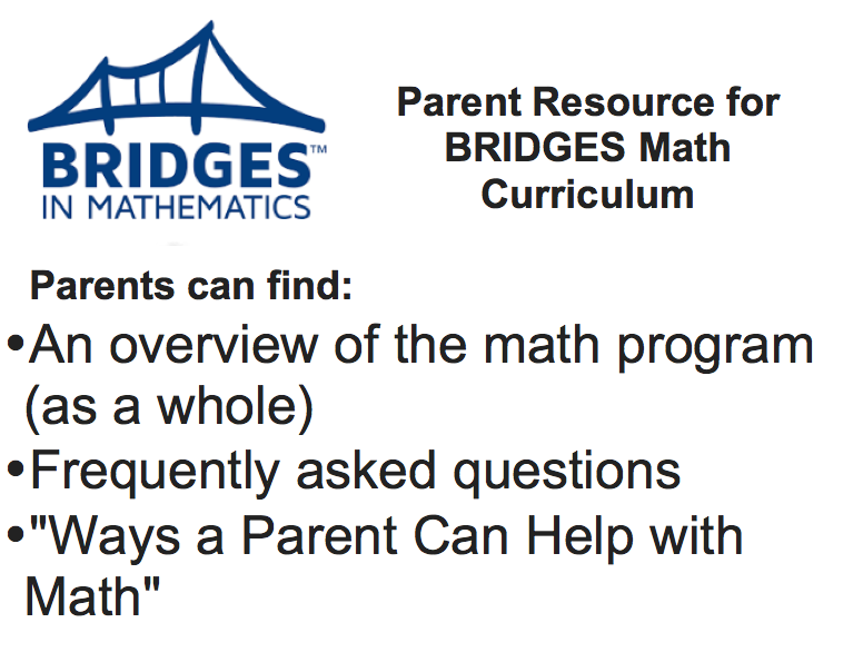 Parent resources for Bridges Math Curriculum