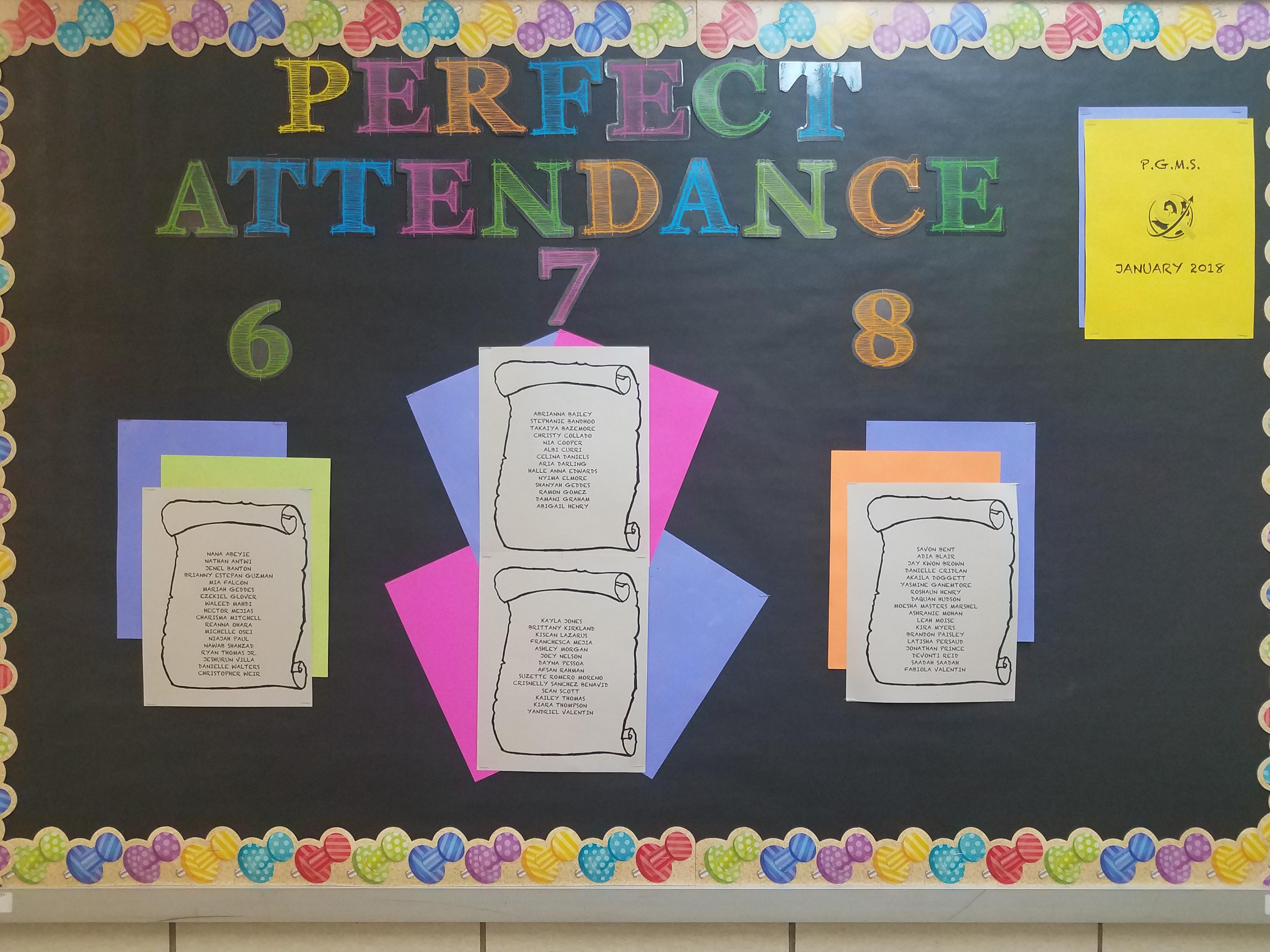 Perfect Attendance - Pelham Gardens Middle School