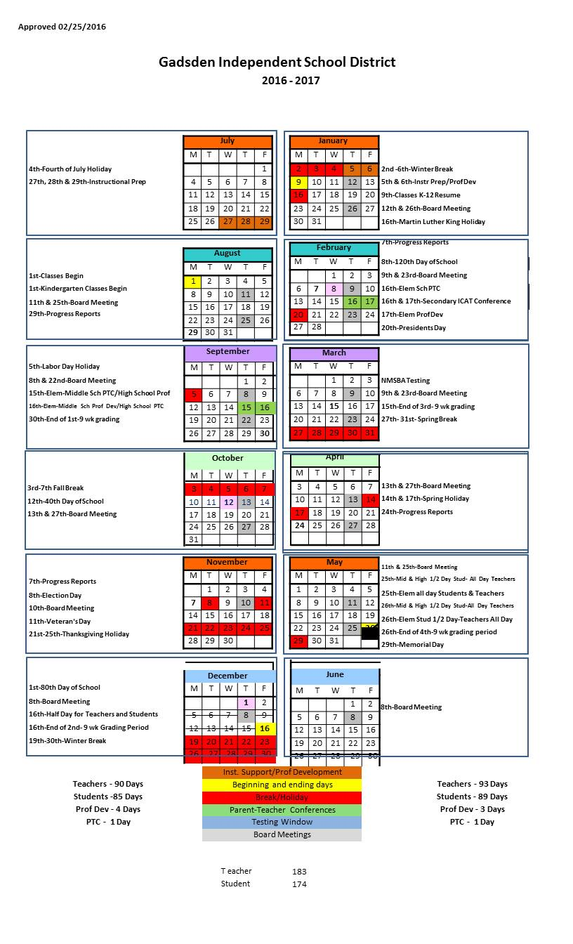 2016-2017 Distric Calendar