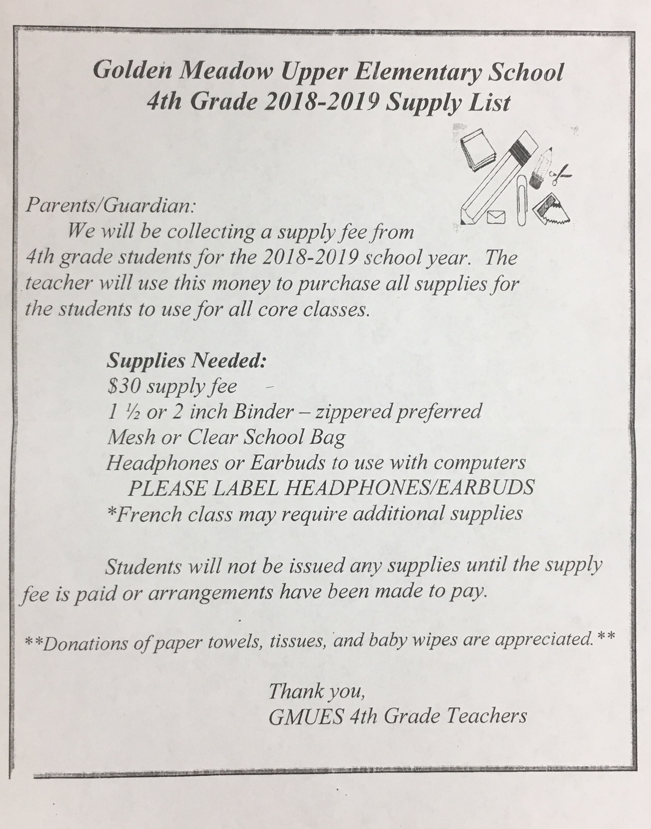 2018 2019 school supply lists