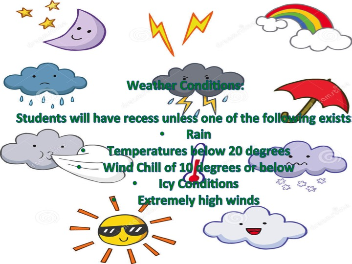No recess if it's raining or temperature under 20 or wind chill under 10 or icy conditions or extremely high winds.