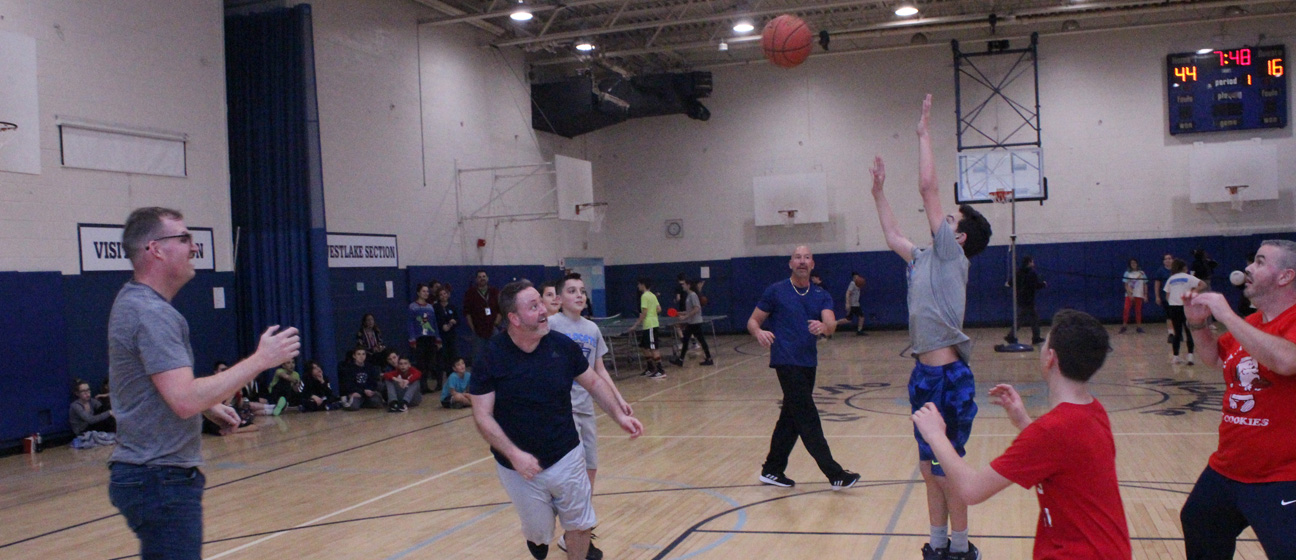 The Big Game. Dr. Bronstein, Mr. Sowka, Mr. Hennessy and Mr. Schiavone take on seventh graders.
