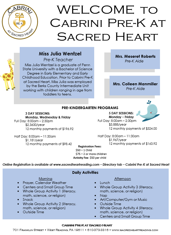 Pre K Sacred Heart School