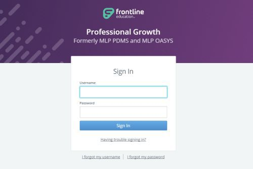 Frontline- MyLearningPlan login page