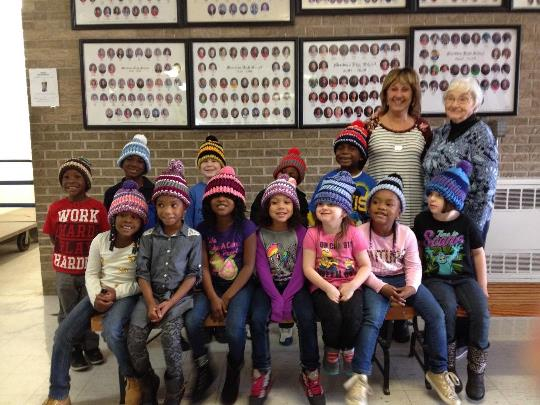 Mrs. Hagler, mother of Dianne Miller, made hats for all of the kindergarten students. Mrs. Hagler used to volunteer in her daughter's room Dianne Miller who taught kindergarten for over 30 years.