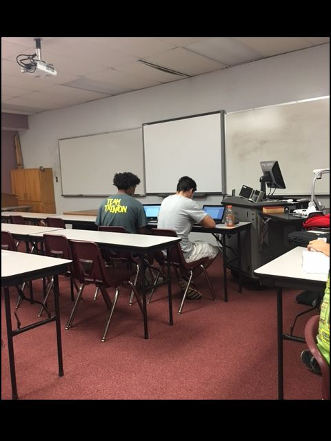 8/23/16  Fast Start students working on assignments on their day off from classes.