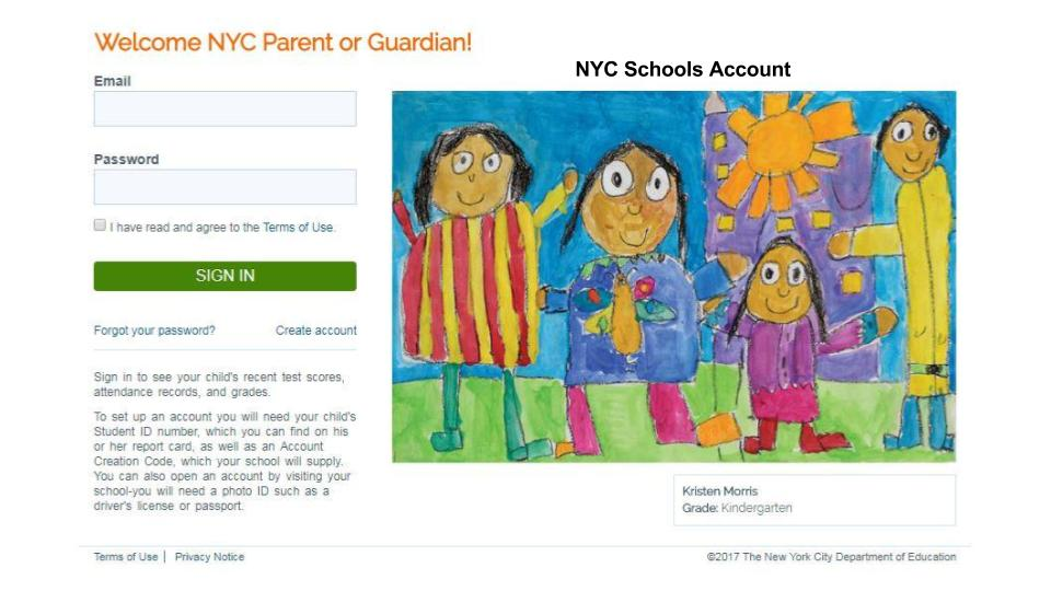 parents sign up for the ny schools account