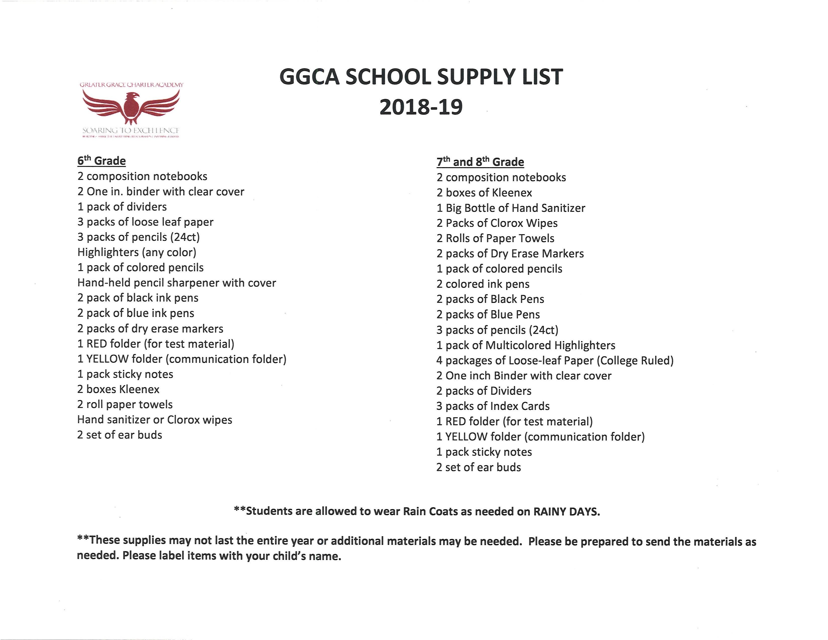 2017 2018 School Supply List Greater Grace Charter Academy