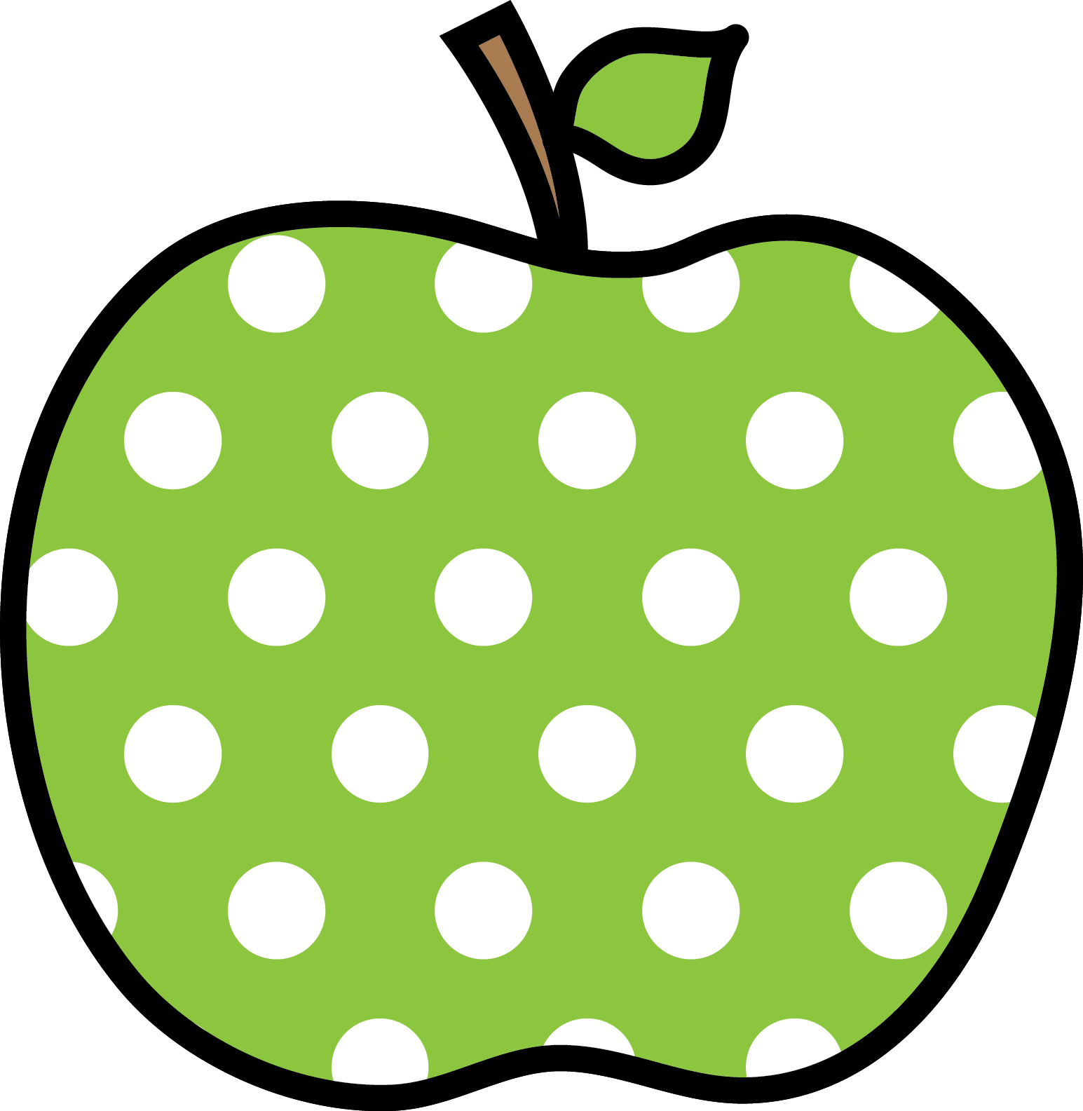 green polka dot apple