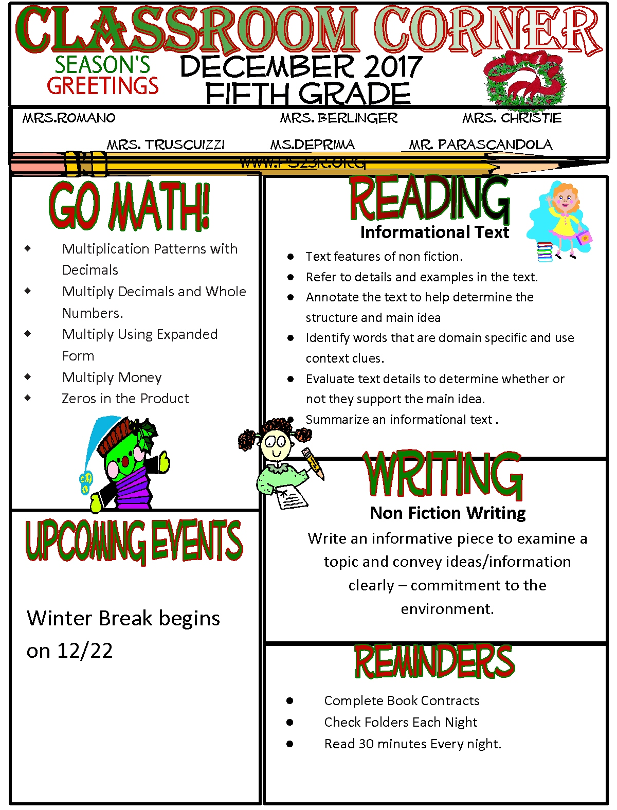 Classroom corner newsletters ps 23 the richmondtown school grade 5 falaconquin